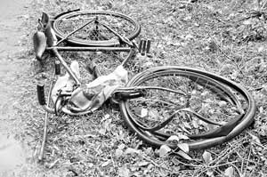 A farmer's bicycle mangled by an angry elephant