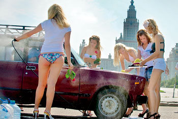 Putin S Patriotic Girls Strip And Wash Cars For His Victory