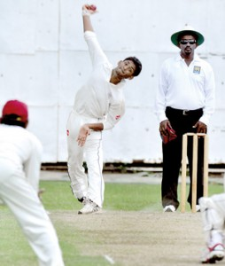 Right arm spinner Shehan Jayasuriya in action against Bloomfield at Braybrooke Place.-Picture by Ranjith Perera.
