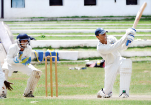 Ragama CC's Dananjaya de Silva in action against CCC. -Pic by Ranjith Perera