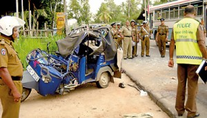 All that remained of the three wheeler that was involved in the Pothuhera accident that killed five