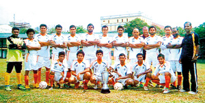 Sampath Bank soccerites who defeated HSBC 2-0 to win the MFA 'B' Division ko final played recently at the City League Soccer grounds.