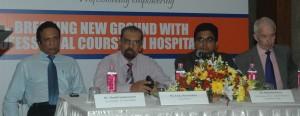 Mr.Thusith Samaraweera-Vice President-Sri Lanka Chapter, Mr.Eraj Aheywardane - Course Director, Mr.Harshana Perera-COO, Institute of Hospitality & Leisure, Mr.Philippe Rossiter FIH-Chief Executive, Institute of Hospitality-UK