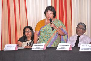 Mrs. Kumari Hapugalle Perera - Chairman Alethea International School on behalf of the organizing committee addressing the gathering