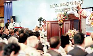 President Rajapaksa addressing diplomats at the workshop in Diyatalawa yesterday