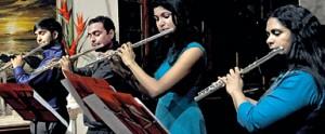 Flute quartet: from left, Thilanka Jayamanne, Ruvindra Angunawala,  Anouk Obeysekera, and Surekha Amerasinghe