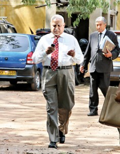 Harry Jayewardena and his counsel S.L. Gunasekera walking out of courts.  Pic by  Athula Devapriya