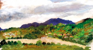 A painting of the Kandy Lake by J.B. Priestley,  reproduced here courtesy Ismeth Raheem