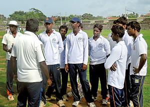Coach Rohan Ariyathilaka motivating the Rahula under 17 team