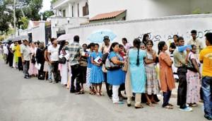 Long queue: Hopeful job seekers waiting to register for medical screening