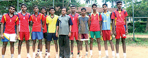 The champions Vijitha Central college team with coach A G Hewage