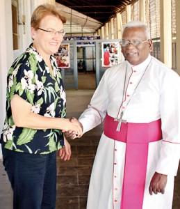 Ambassador Butenis meeting Bishop Saundaranayagam during her Jaffna visit  Pic courtesy Uthayan