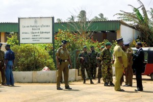 Mannar court under STF security on Friday. Pic by S.R. Lambart
