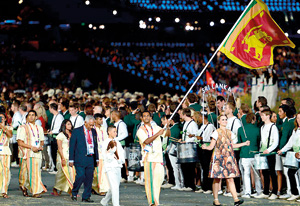 The Sri Lankan contingent during the opening ceremony. Courtesy styleite.com