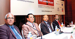 Picture shows from left - B Swaminathan - President, Enterprising Fairs(India) Pvt Ltd; Anver Dole - Vice President, Plastics and Rubber Institute of Sri Lanka; Kirthi Wanasinghe - President, Plastics and Rubber Institute of Sri Lanka and Bandula Sarath Kumara - Project Director- NPCPWM Project, CEA.