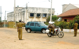 Although  Mannar lawyers are on strike the Mannar  Magistrate arrives to court daily. Pic by S.R. Lambert