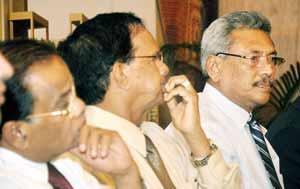 Defence Secretary Gotabaya Rajapaksa  listens to residents. Pic by Amila Gamage