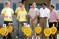 FILE PHOTO: Jayalath Jayawardena, MP with his sirens during the 2004 tsunami. He is flanked by A. Thiagaraja, then LTTE co-ordinator for NGOs and LTTE spokesman Daya Master. On his right are three German volunteers.