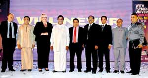 L – R: Professor Simon Payne – Head of School of Law and Acting Dean of Academic Partnerships University of Plymouth, Hon Mohan Lal Grero – Monitoring Member of Parliament of the Ministry of Youth Affairs and Skills Development, Professor Wendy Purcell -Vice Chancellor University of Plymouth, Hon Bandula Gunewardena – Minister of Education, HE Mr Oshadie Alahapperuma – Ambassador for Sri Lanka in Sweden and NSBM Board Member, Dr E.A. Weerasinghe – CEO NSBM, Professor L.P. Jayatissa,  Mr K.A. Thilakaratne – Secretary Ministry of Youth Affairs and Skills Development, Mr D.M.A. Kulasooriya – Dean School of Business NSBM