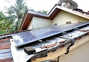 The solar panels on the roof. Pix by Susantha Liyanawatte