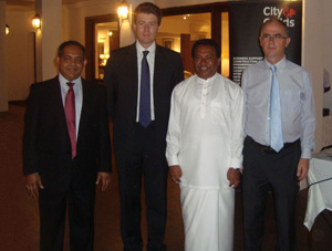 From left Mufthy Hashim, Regional Manager South Asia, City & Guilds International, Mike Dawe Director of International City & Guilds Group, S.B. Dissanayake Minister of Higher Education and British High Commissioner in Sri Lanka  HE John Rankin