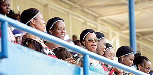 Royal harem: Some of the king's 13 wives, pictured during Easter celebrations at Swaziland's national stadium