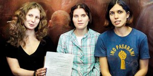 Jailed: Pussy Riot members, from left, Maria Alekhina, Yekaterina Samutsevich, and Nadezhda Tolokonnikova, pictured at court in Moscow