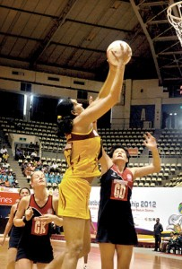 Sri Lanka co-skipper Tharjini Sivalingam who scored 75 goals yesterday against Hong Kong will be a player embattled by other opponents in the 8th Asian Netball Championships. – Pic by Amila Gamage