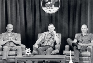 This files picture taken on July 19, 1969 shows (from left) US astronauts, crew of the Apollo 11 lunar landing mission, Edwin Aldrin, Neil Armstrong and Michael Collins during a press conference.  Armstrong died on August 25 at the age of 82 from complications following heart surgery earlier this month. AFP
