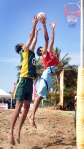 Action in the final game between India and Pakistan where India triumphed.