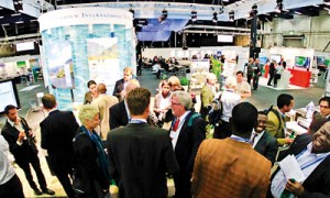 Participants mingle at the 2012 World Water Week in Stockholm. Pic by Peter Tv�rberg, SIWI/CC