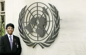 Young rights man has  winning shot at the UN