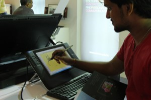 AOD graphic students trying out the best technology