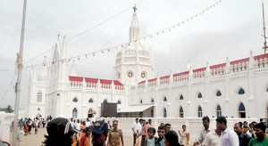 Something to remember: Pilgrims managed to briefly visit the Church of Our Lady of Vellankanni before they boarded a flight back home