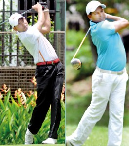 Finalists Dulal Hossain (Left) and N. Thangaraja (Right) in action at the Ridgeway's. - Pics by Ranjith Perera