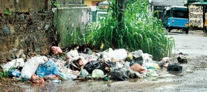 A garbage dump  close to the Maharagama Hospital