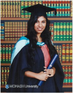 """Gayara De Silva was interested in studying a degree that combined both Business and Psychology and found that it was offered at Monash University.  After completing her A/Levels  she obtained 3 A's and she chose to commence her studies at ANC.  About her experiences at ANC she says that """"Monash courses are a challenge and I thrive on challenges!  To make my dream a reality I chose to start my Monash College Diploma in Business at ANC.  The facilities at ANC are really great.  What ANC offered through its smaller class sizes is more student-teacher interaction which helped me to build my confidence and understanding.  What ANC provided to me was an excellent preparation for Monash University.""""   Gayara has now graduated as a Bachelor of Business and Psychology at Monash University's Sunway Campus in Malaysia."""