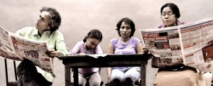 Fraught relationships: Left to right, Peter d'Almeida (Kalana), Shelina  Muthumudalige (Saki), Lakmini Seneviratne (Dil), Kaushalya Fernando (Gedara-Achchi). Pix by Susantha Liyanawatte
