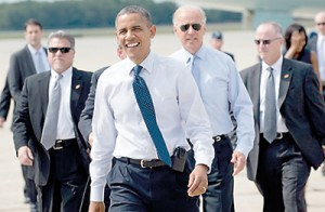 President Obama and Vice President Joe Biden back on the campaign (AFP)
