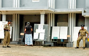 Just one person at this voting centre in Ratnapura. Pic by Indika Handuwala