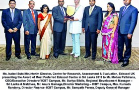 ICBT Campus the Best Edexcel Centre in Sri Lanka for  the second successive year