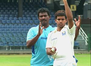 Sri Lanka Bowling Coach Champaka Ramanayake guiding a young hopeful.