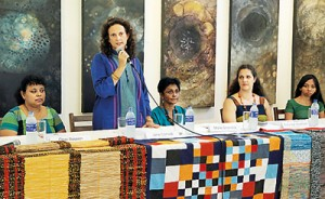 Jane Conrad discusses the exhibition at a news conference. Pix by M.A. Pushpa Kumara