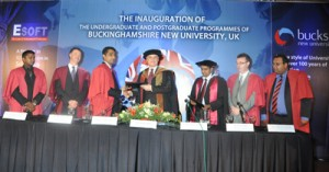 UK's Bucks New University Deputy Vice Chancellor Prof. Derek Godfrey is exchanging the MOU with ESOFT Group of Companies Chairman and managing Director Dr. Dayan Rajapaksa. In the picture are (Left side) ESOFT International Education (PVT) Limited Director Nishan Sembakuttiarachchi, UK's Bucks New University, Production and New Media School Head Frazier McKenzie and (Right side) ESOFT International Education (PVT) Limited Chief Executive Officer Dr. Prasanna Lokuge, Bucks New University New Media and Technology Department Manager Dr. Kevin Mahar and Bucks New University Recruitment Advisor and Lecturer Ajitha Wanasinghe.