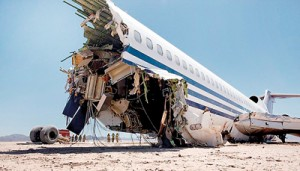 Wrecked: The deliberate crash-landing  shows how devastating such an impact can be on the front of a