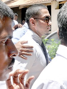 Malaka Silva being brought to courts on Friday. Pic by Amila Gamage