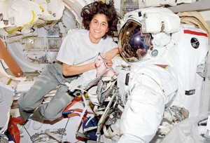 Giant leap: Sunita Williams the second woman astronaut ever to take charge of the International Space Station, credited her crew mates with teaching her how to work and have fun in space