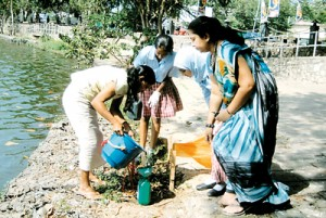 Collecting water samples during the project