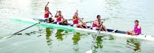 The jubilant Ananda College fours crew who won the Boat Race.
