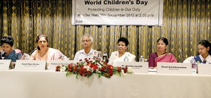 The members of 'Citizens for a secure Sri Lanka' addressing the media on Thursday at the Cinnamon Grand Hotel. From left are Visakha Tillekeratne (Founder of Justice for Victims); Caryll Tozer-Perera, (Founder member of Women-in-Need); Prof. Harendra de Silva, Shantha Jayalath (Commissioner of Girl Guides); Shanthi Sachithanandam (Chief executive Officer of Viluthu); and Girl Guide Kavindya Tennekoon. Pic by M.A. Pushpa Kumara